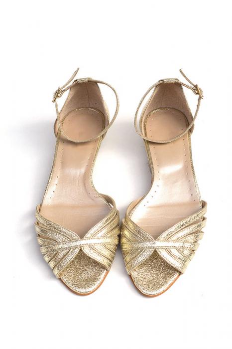 Sandale dama din piele naturala Gold Stripes