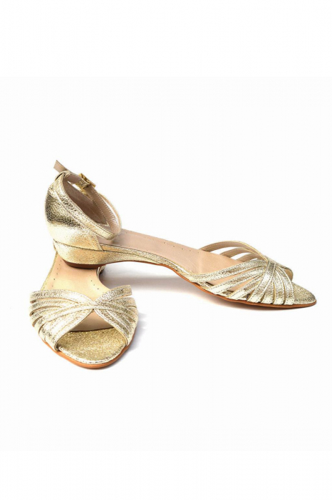 Sandale dama din piele naturala Gold Stripes 2