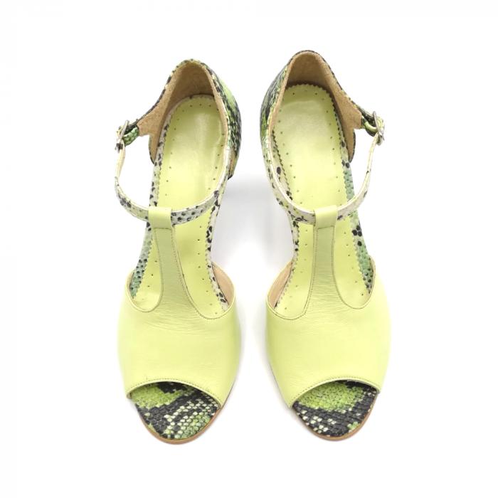 Sandale dama din piele naturala cu toc stiletto Lime Snake 3