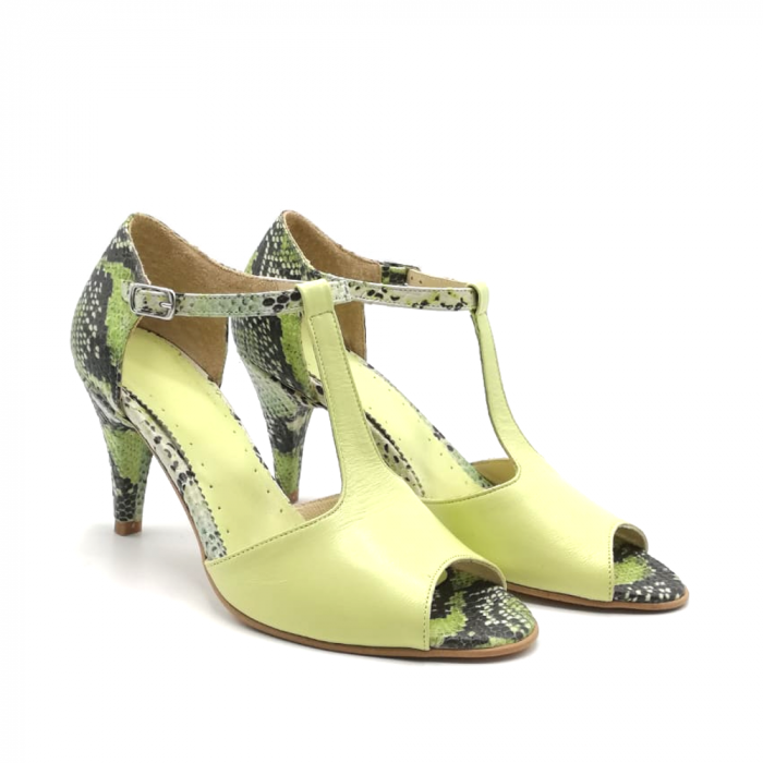 Sandale dama din piele naturala cu toc stiletto Lime Snake 1