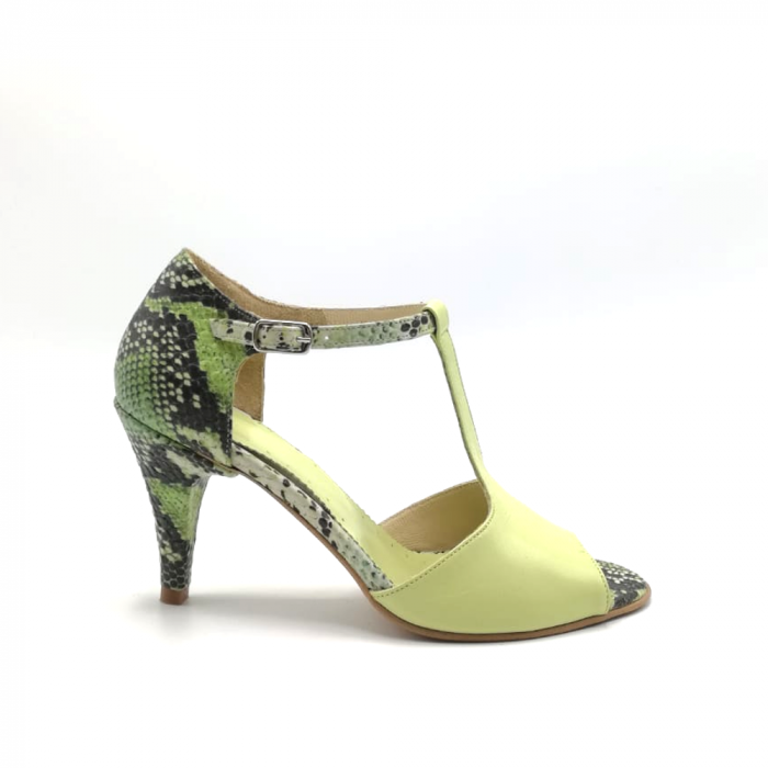 Sandale dama din piele naturala cu toc stiletto Lime Snake 0
