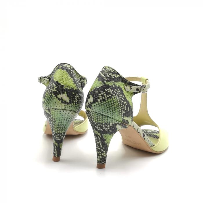 Sandale dama din piele naturala cu toc stiletto Lime Snake 2