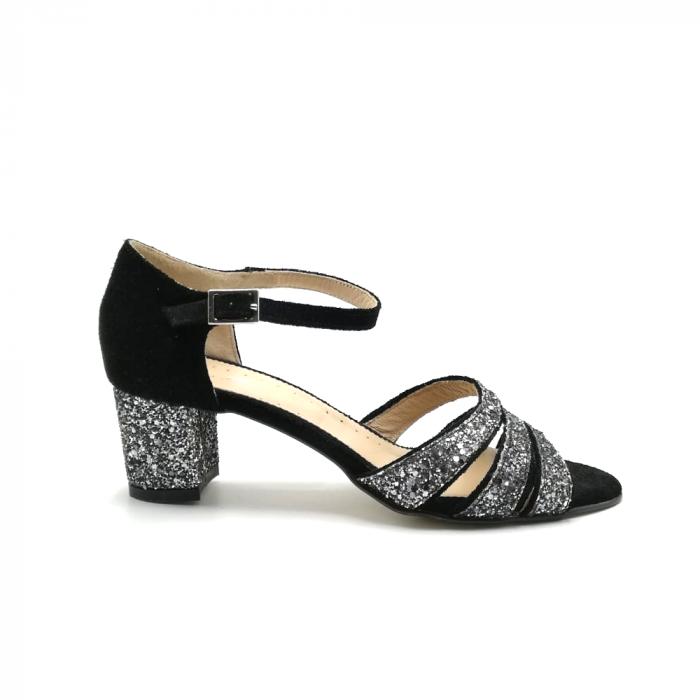 Sandale dama din piele intoarsa cu toc gros Black Glitter 0