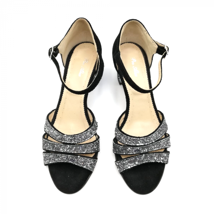 Sandale dama din piele intoarsa cu toc gros Black Glitter 2