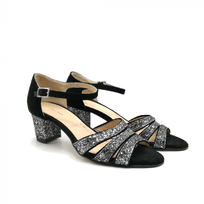 Sandale dama din piele intoarsa cu toc gros Black Glitter 1