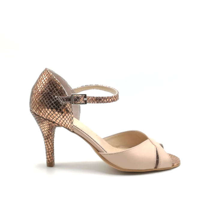 Sandale dama din piele naturala cu toc stiletto Nude Bronze 0