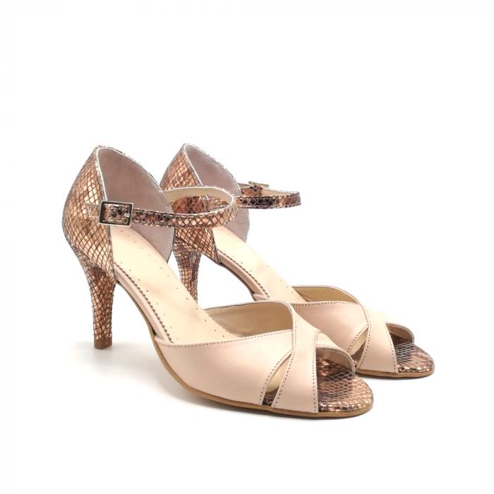 Sandale dama din piele naturala cu toc stiletto Nude Bronze 1