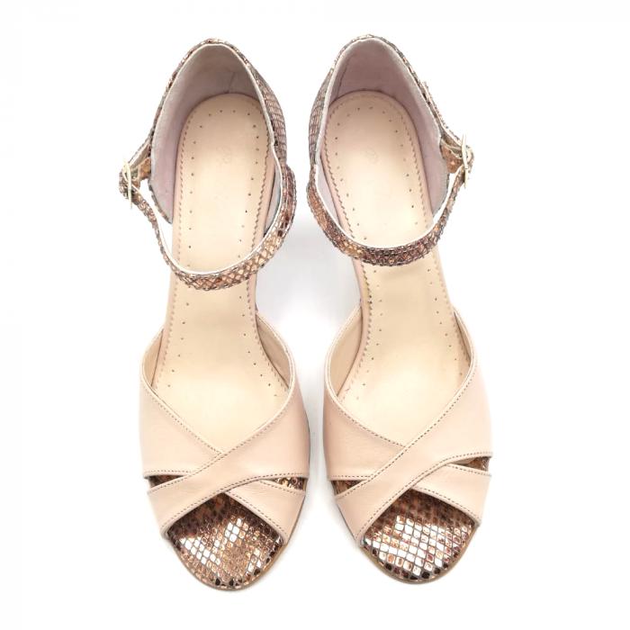Sandale dama din piele naturala cu toc stiletto Nude Bronze 3