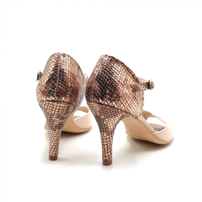 Sandale dama din piele naturala cu toc stiletto Nude Bronze 2