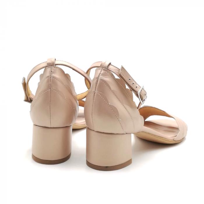 Sandale dama din piele naturala cu toc gros Nude Sidef 3