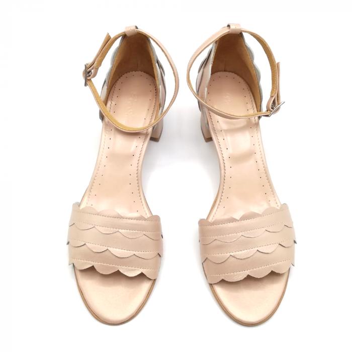 Sandale dama din piele naturala cu toc gros Nude Sidef 2