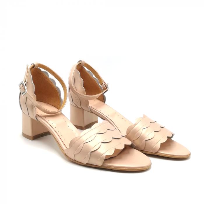 Sandale dama din piele naturala cu toc gros Nude Sidef 1