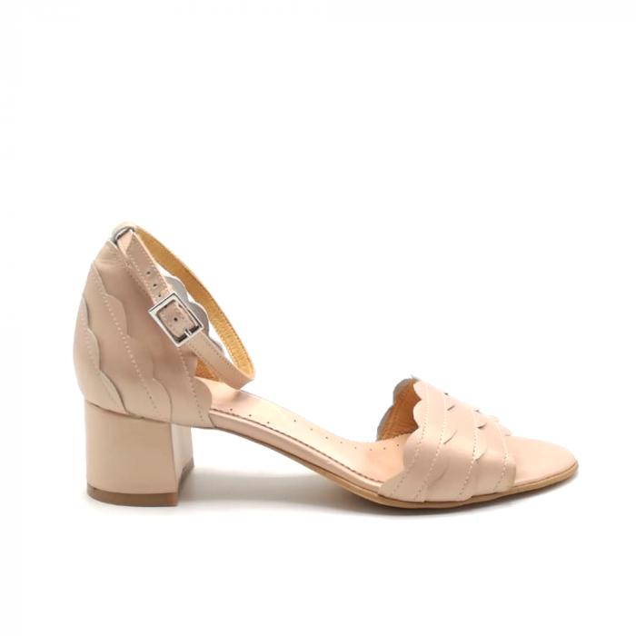 Sandale dama din piele naturala cu toc gros Nude Sidef 0