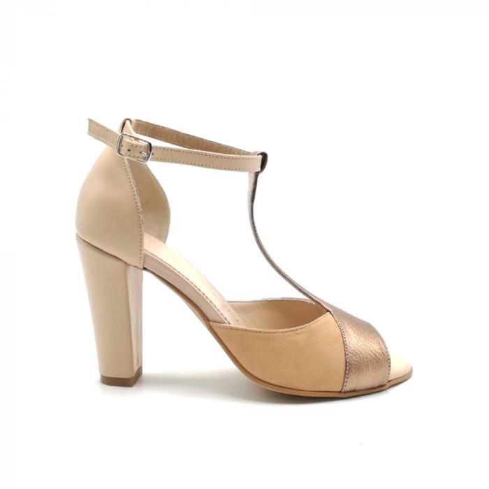 Sandale dama din piele naturala cu toc gros Nude Copper 0