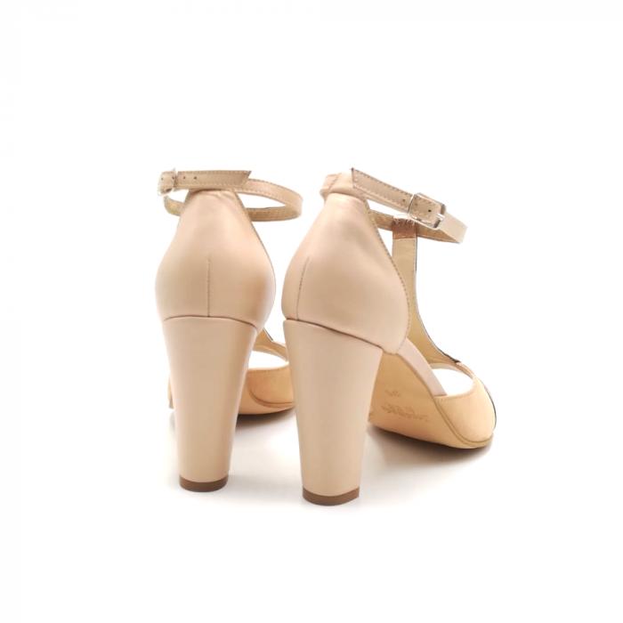 Sandale dama din piele naturala cu toc gros Nude Copper 3