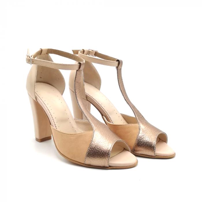 Sandale dama din piele naturala cu toc gros Nude Copper 1