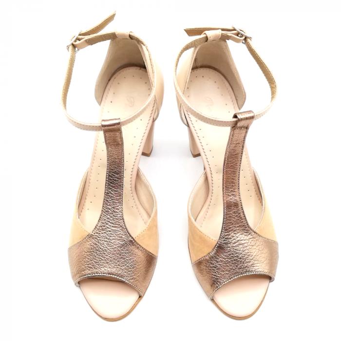 Sandale dama din piele naturala cu toc gros Nude Copper 2