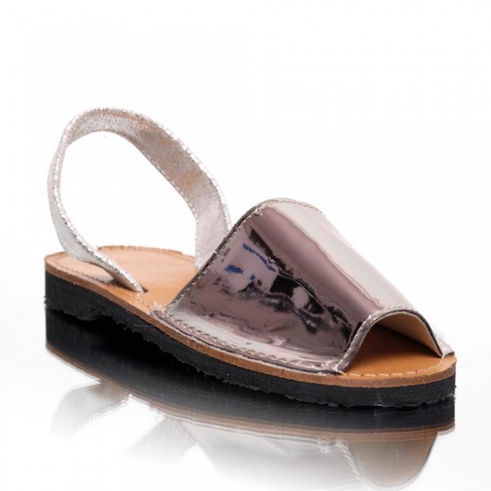 Sandale dama tip Avarca Argintiu Oglinda