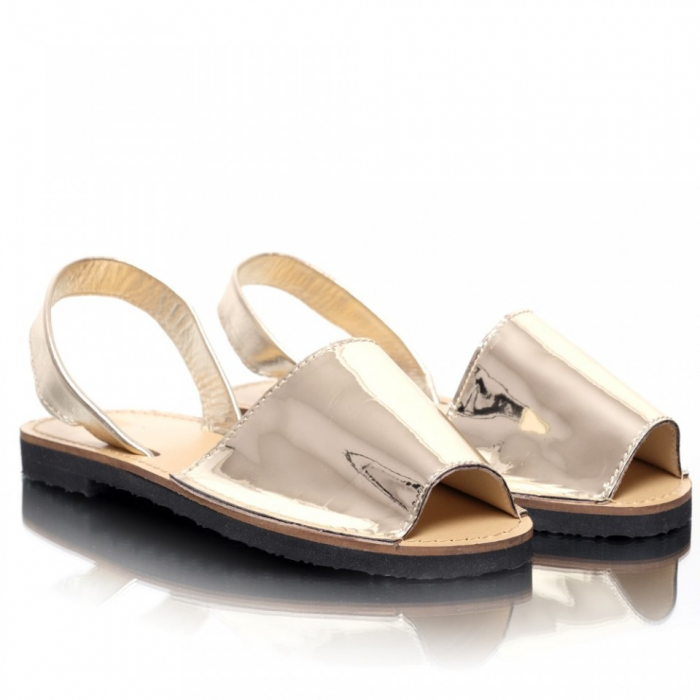 Sandale dama tip Avarca Auriu Oglinda