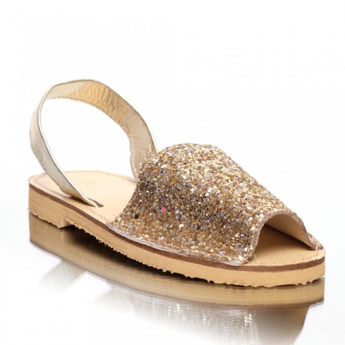 Sandale dama tip Avarca Glitter Auriu