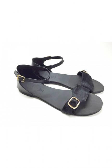 Sandale de dama din piele Ada Pony Black 3