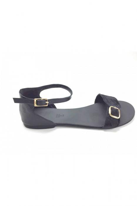 Sandale de dama din piele Ada Pony Black 1