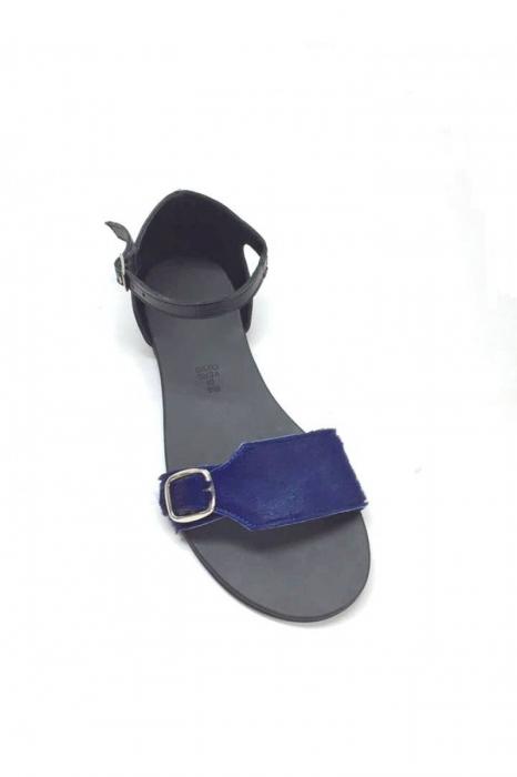 Sandale de dama din piele Ada Pony Blue 1