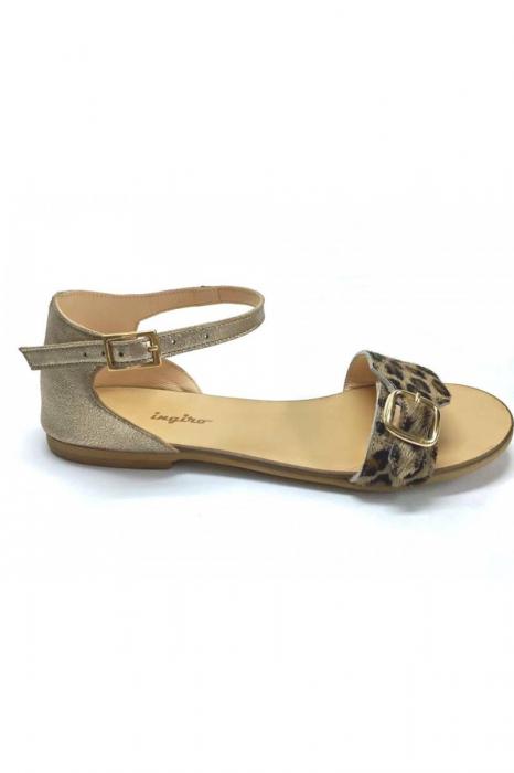 Sandale de dama din piele Ada Pony Print 1