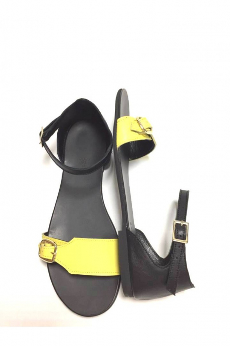 Sandale de dama din piele Ada Yellow 1