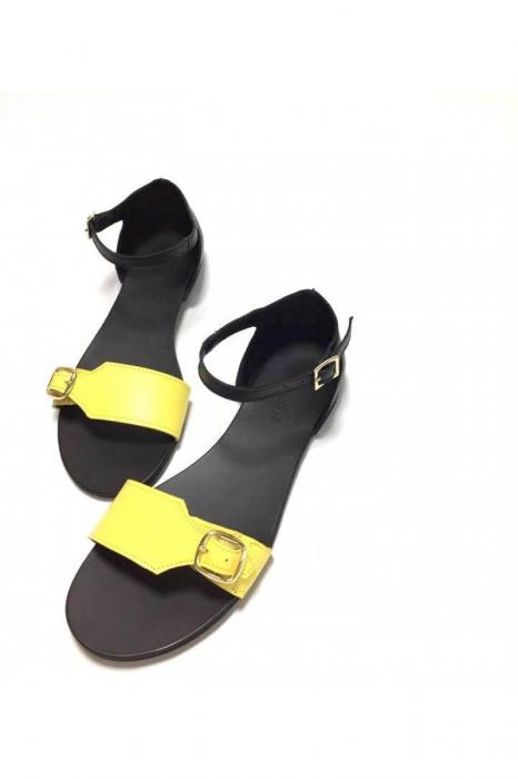 Sandale de dama din piele Ada Yellow 2