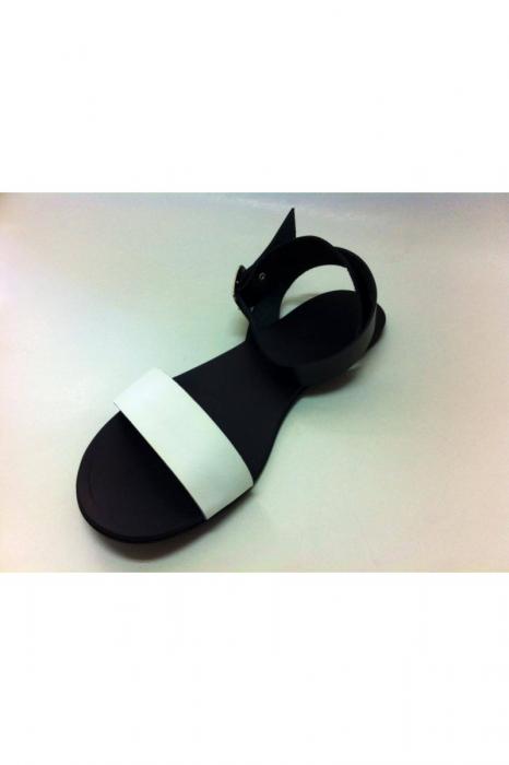 Sandale de dama din piele Black and White 2