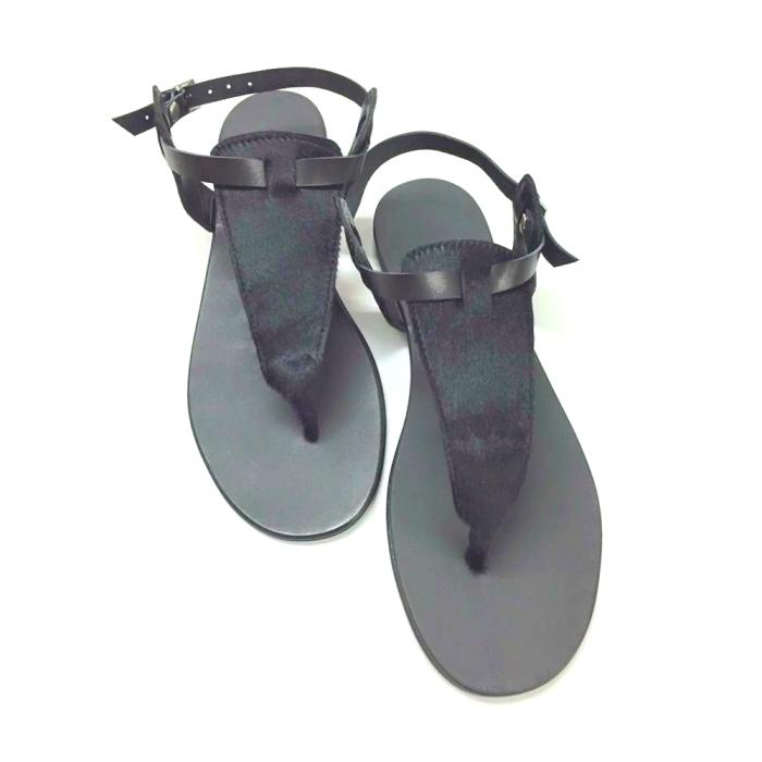 Sandale de dama din piele Black Pony [2]