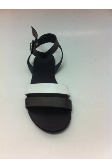 Sandale de dama din piele double stripe Black&White