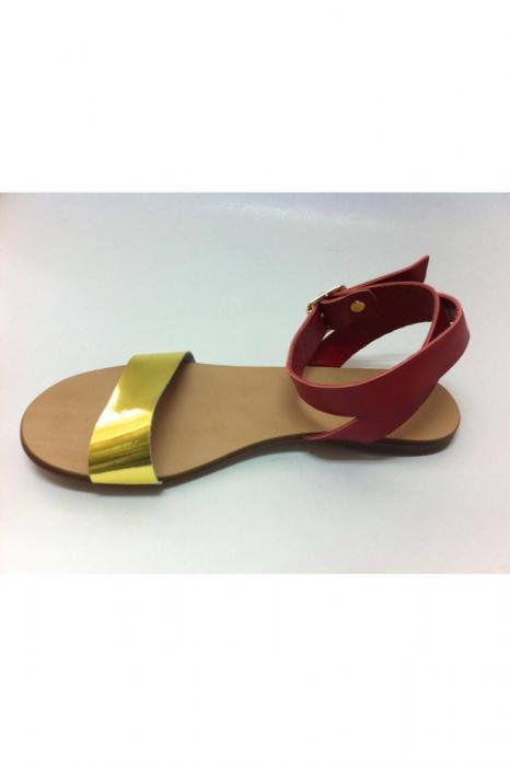 Sandale de dama din piele Golden Red 1