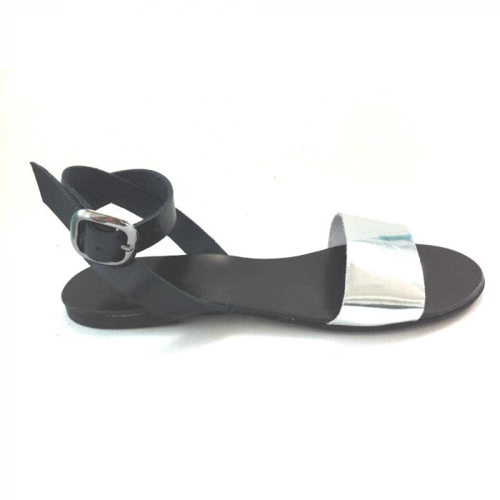 Sandale de dama din piele Silver Black, 37