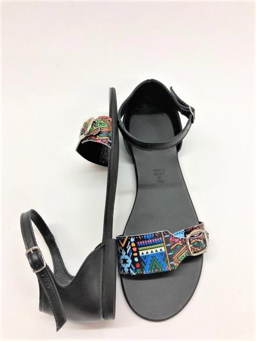 Sandale dama din piele Traditional Pattern Ada 2