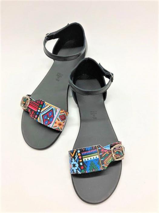 Sandale dama din piele Traditional Pattern Ada 1