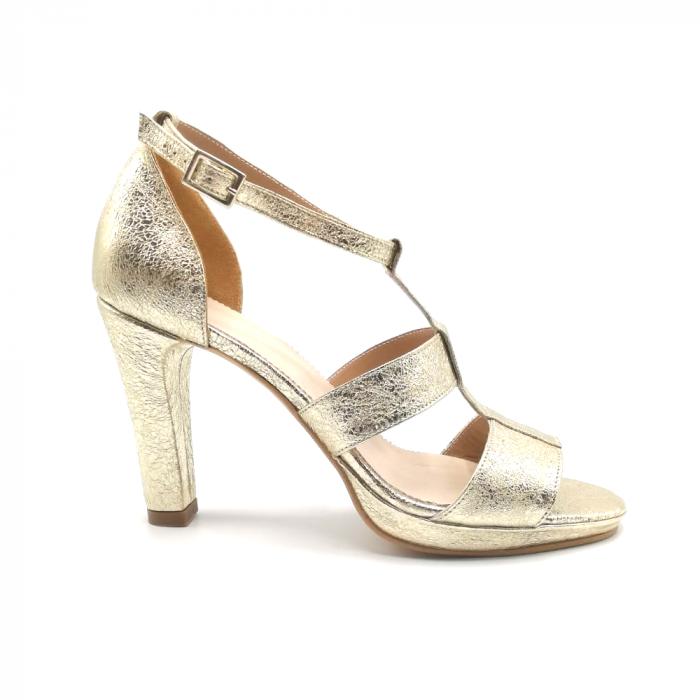Sandale din piele cu toc gros Gold Texture, 39 0