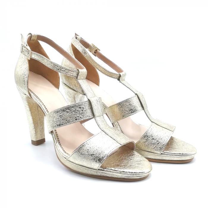 Sandale din piele cu toc gros Gold Texture, 39 1