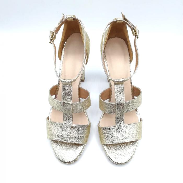 Sandale din piele cu toc gros Gold Texture, 39 3