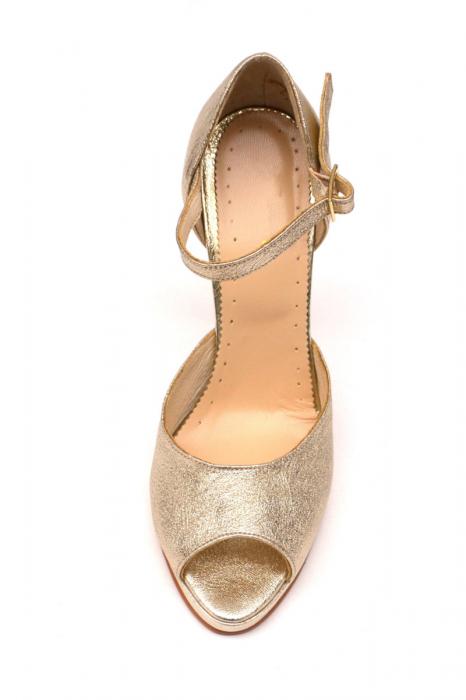 Sandale din piele cu toc stiletto Gold 1