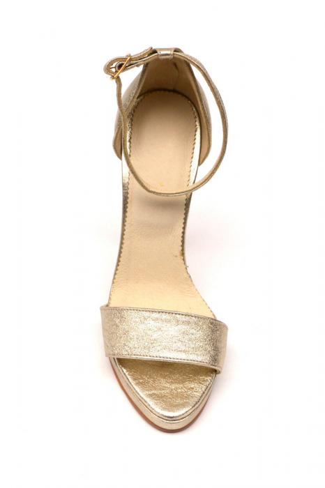 Sandale din piele cu toc stiletto Shiny Gold