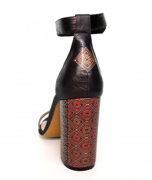 Sandale din piele naturala Romanian Motifs Navy 2