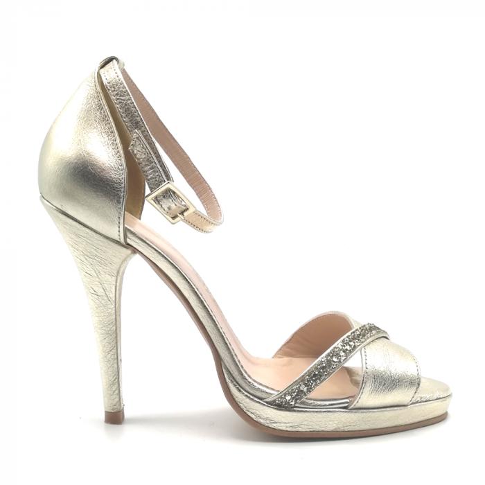 Sandale Gold stiletto cu bareta din glitter auriu, 39 0