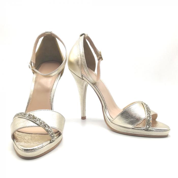 Sandale Gold stiletto cu bareta din glitter auriu, 39 3