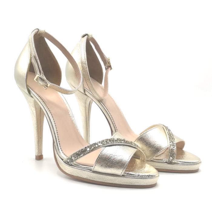 Sandale Gold stiletto cu bareta din glitter auriu, 39 1