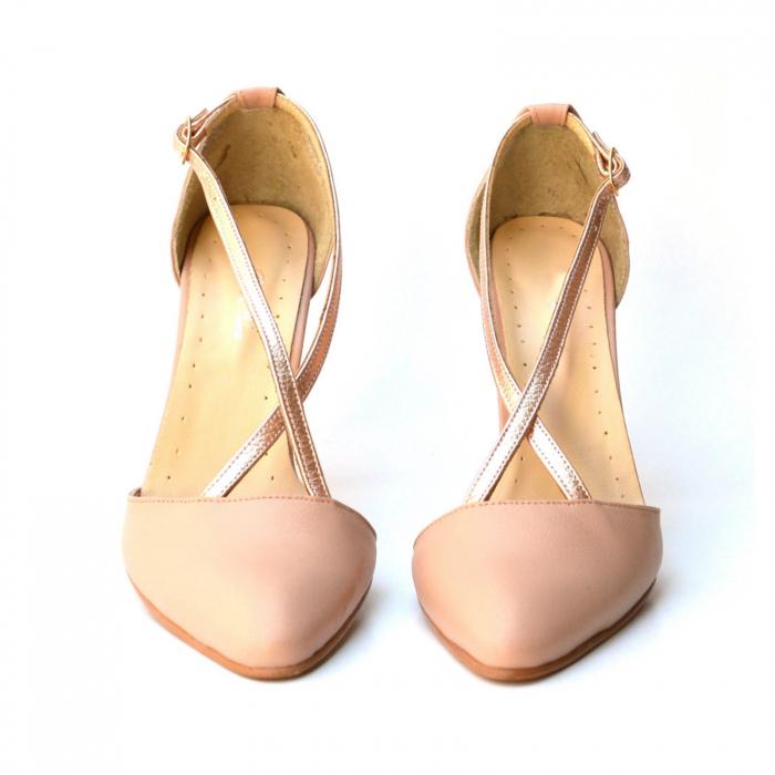 Pantofi stilleto din piele cu barete incrucisate 4