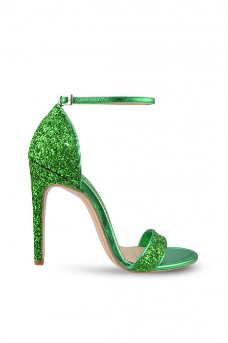 Sandale Mihai Albu din piele Emerald Green Glitter 0