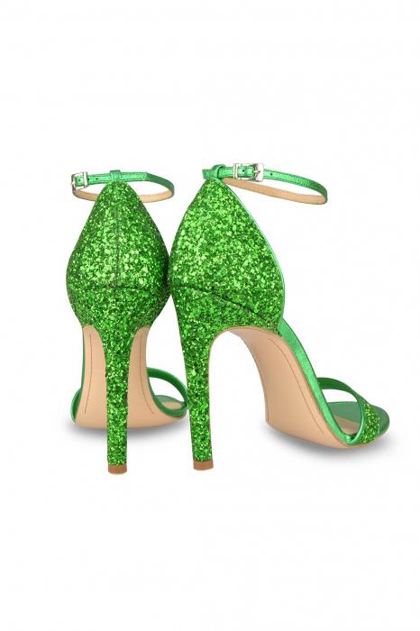 Sandale Mihai Albu din piele Emerald Green Glitter 2