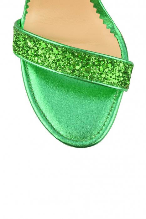 Sandale Mihai Albu din piele Emerald Green Glitter 3